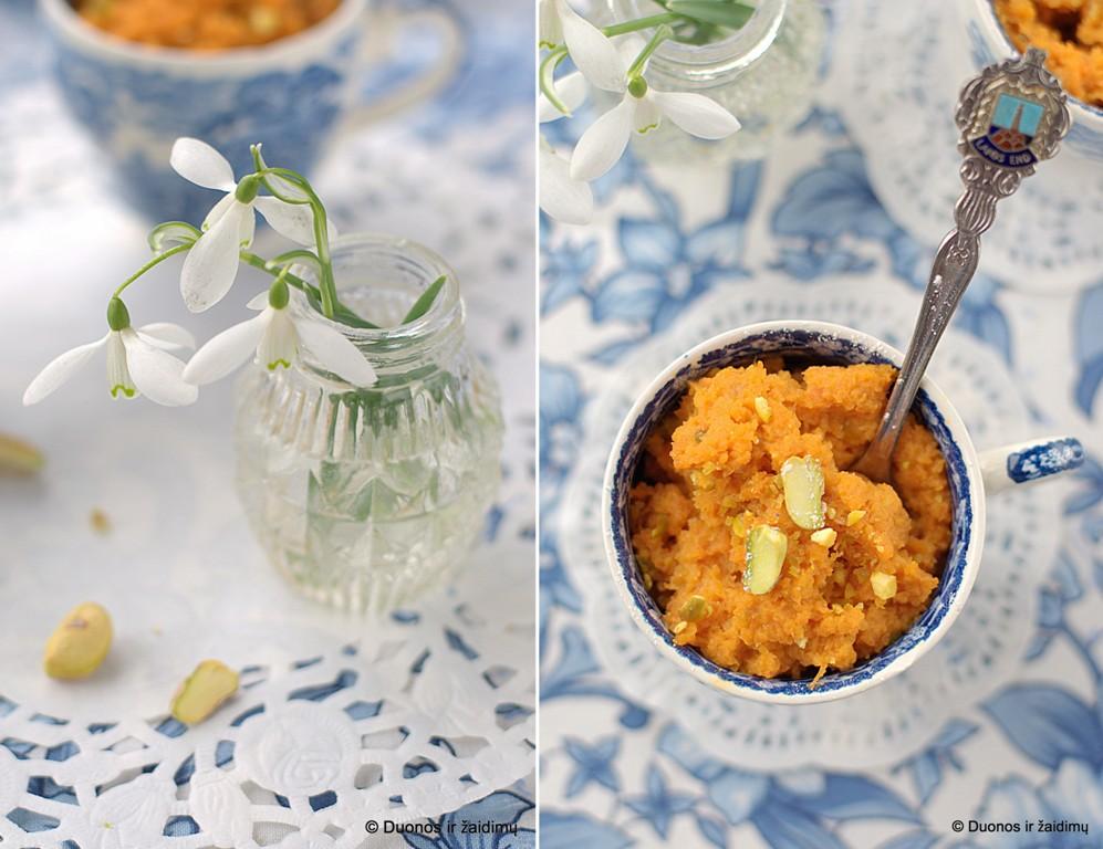 Indiskas morku pudingas su pistacijomis